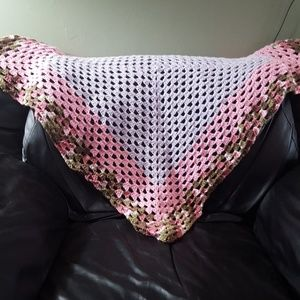 Purple pink and pink camo baby blanket